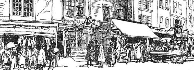 Historical etching depicting a London market scene
